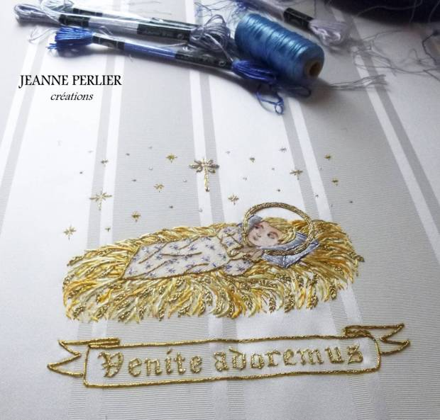 JEANNE PERLIER - Venite adoremus pall - achieved embroidery